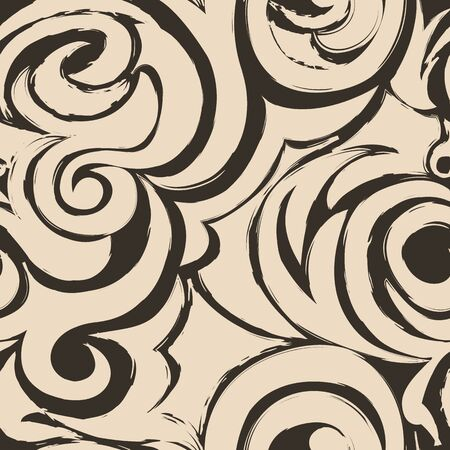 brown seamless pattern of spirals and curls. Ilustrace