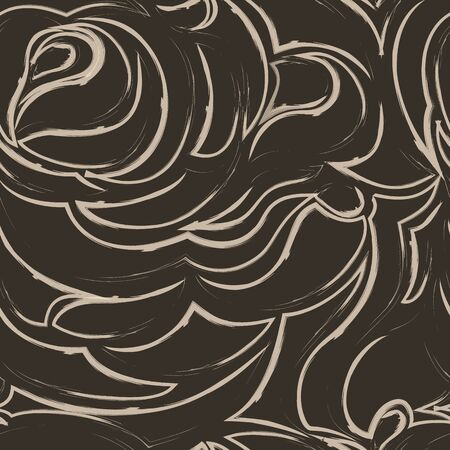 brown seamless pattern of spirals and curls. Decorative ornament for background. Иллюстрация