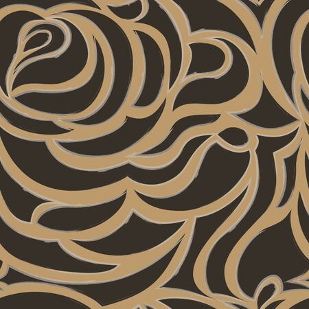Vector brown flowing and seamless background.