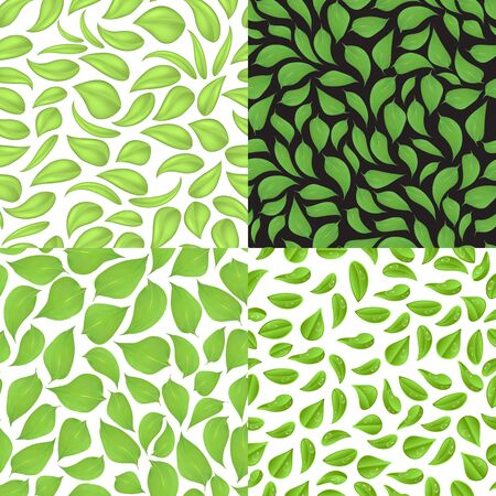 Set of seamless patterns consisting of leaves, in a different style. Stock fotó - 129780477