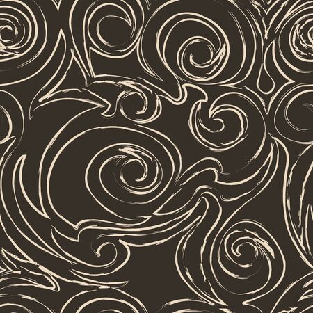 Seamless vector beige pattern of spirals of curls and bundles. Blank for decoration coffee color. Wrapping paper curtains or clothes.EPS 10 Vettoriali