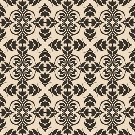 Seamless Pattern of abstract elements or butterflies and leaves with flowers of dark color on a beige background. Decoration for fabrics or tiles. 版權商用圖片 - 131073970