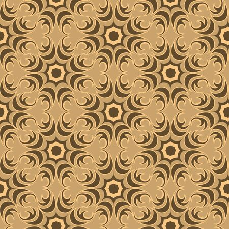 Seamless texture of floral and abstract round shape swamp color elements on brown backdrop. Design for tiles and packaging, curtains.10
