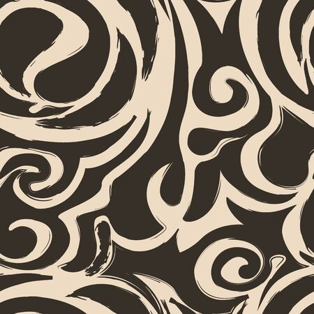 Abstract Seamless pattern of spirals and curls brown, wave, floral, waves , sea pattern,10