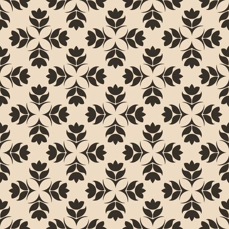 Seamless Pattern of abstract elements or butterflies and leaves with brown flowers on a beige background. Decoration for fabrics or tiles.EPS 10
