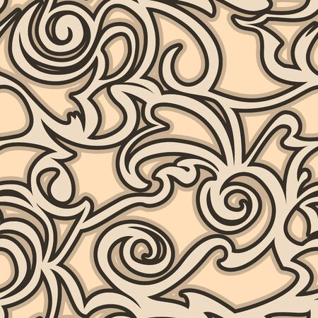 Seamless vector beige pattern of spirals of curls and bundles. Blank for decoration coffee color. Wrapping paper curtains or clothes.EPS 10