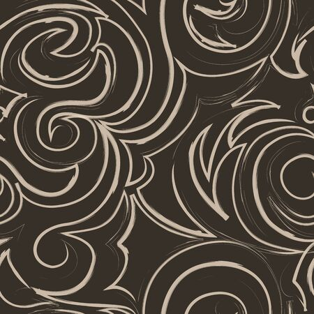 brown seamless pattern of spirals and curls. Decorative ornament for background.EPS 10 vector Illusztráció