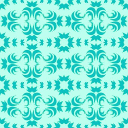 Seamless vector pattern of floral and abstract elements of turquoise color with a green stroke on a marine background. Design for curtains tiles and packaging.EPS 10