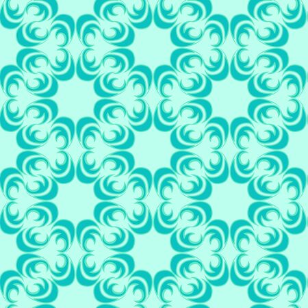 Seamless vector pattern of floral and abstract elements of turquoise color of a round shape on a sea background. Design for curtains tiles and packaging.EPS 10