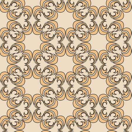 Seamless vector pattern of floral and abstract round shape orange color elements on beige background. Design for tiles and packaging, curtains. EPS 10