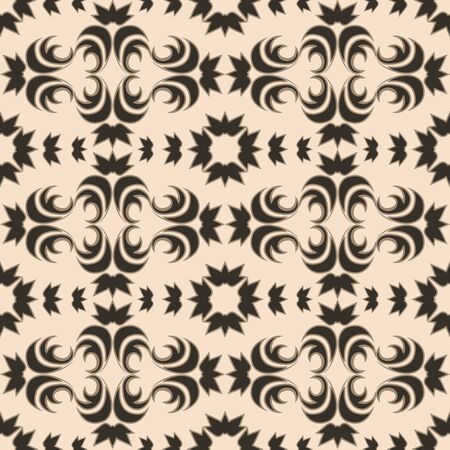 Seamless vector pattern of floral and abstract elements of a dark color on a beige background. Design for curtains tiles and packaging.EPS 10