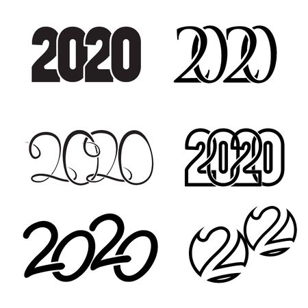 Set of digits 2020 binding numbers new year symbol black isolated on white background