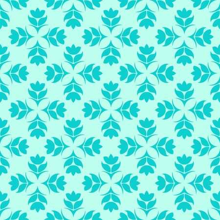Seamless Pattern of abstract elements or butterflies and leaves with blue flowers on a turquoise background. Decoration for fabrics or tiles. 版權商用圖片 - 133528350