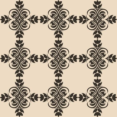 Seamless Pattern of abstract elements or butterflies and leaves with black flowers on a brown background. Decoration for fabrics or tiles.