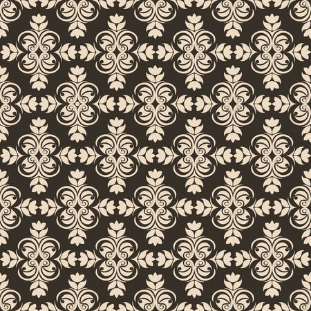 Periodic Seamless Pattern of abstract elements or butterflies and leaves with beige flowers on a brown background. Decoration for fabrics or tiles.