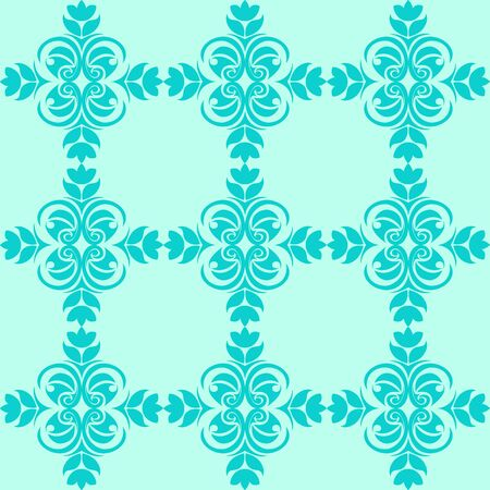 Seamless Pattern of abstract elements or butterflies and leaves with blue flowers on a turquoise background. Decoration for fabrics or tiles. 向量圖像