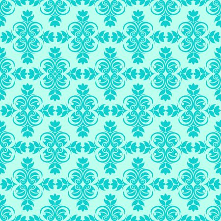Periodic Seamless Pattern of abstract elements or butterflies and leaves with blue flowers on a turquoise background. Decoration for fabrics or tiles.