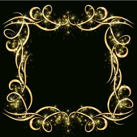 Vector golden frame from wicker and curl lines with sparkles and sparkles on a dark background. Decor for cards and business cards