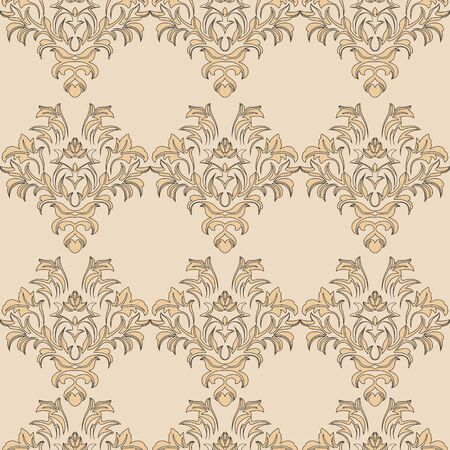 beige romance vector seamless pattern. Pattern for tile of curtains Vector Illustration