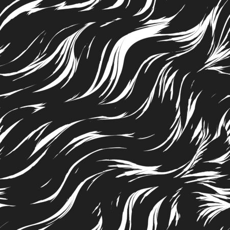 Seamless vector pattern in black color from abstract waves and splashes. Water texture. Black strokes of paint on a white background