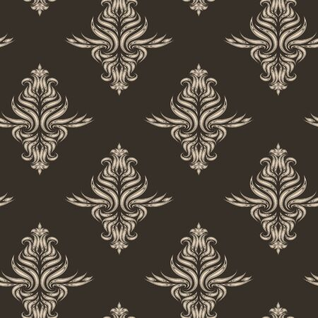 Beige vector seamless pattern. Texture for fabrics or packaging in brown color with floral elements.