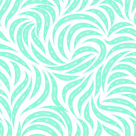 Seamless vector pattern of smooth lines with cuts inside in a Aqua Menthe trendy color. Texture for fabric or packaging isolated on white background 向量圖像