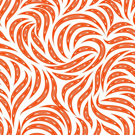 Seamless vector pattern of smooth lines with cuts inside in a Lush Lava trendy color. Texture for fabric or packaging isolated on white background