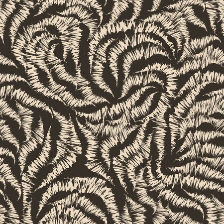 Seamless beige texture from randomly drawn lines by the handle on a brown background. Pattern for curtain fabrics or packaging. 向量圖像