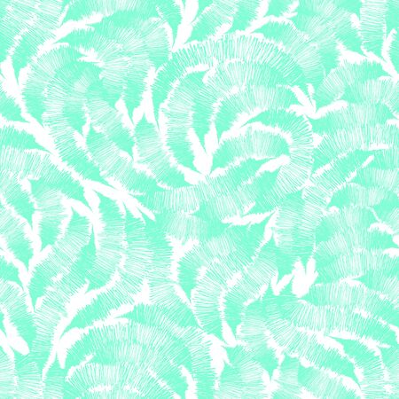 Seamless texture Aqua Menthe from randomly drawn lines by the handle on a white background. Pattern for curtain fabrics or packaging