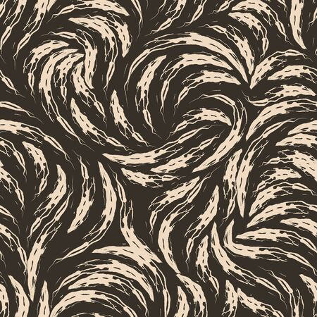 Seamless texture on a brown background from beige torn arches. A pattern of beige strokes of paint on a dark background for prints and wrapping paper