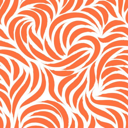 Seamless vector pattern of smooth lines or brush strokes of Lush Lava. Blank for printing on fabric, elegant orange texture isolated on white background