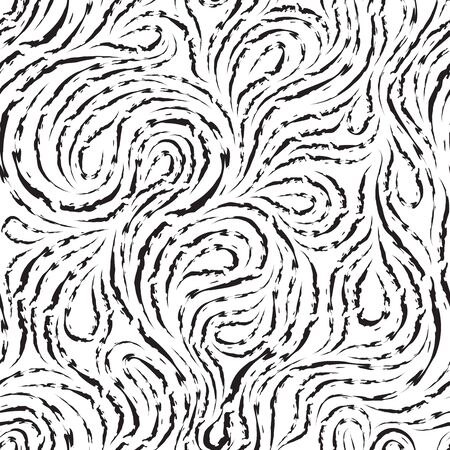 Abstract vector seamless pattern in black color from torn lines in the form of spirals of loops and curls. Texture for decoration of fabrics or wrappers in black isolated on white background