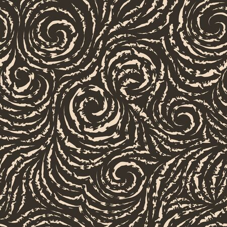Seamless vector pattern of torn lines in the form of circles and spirals. Beige texture for decoration of fabrics or wrapping paper.