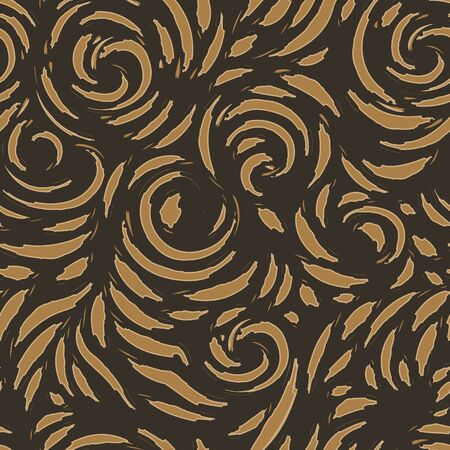 Vector seamless texture of spirals and blots with torn edges in brown shades. Contrast beige pattern for fabrics or wrapping paper on a dark background