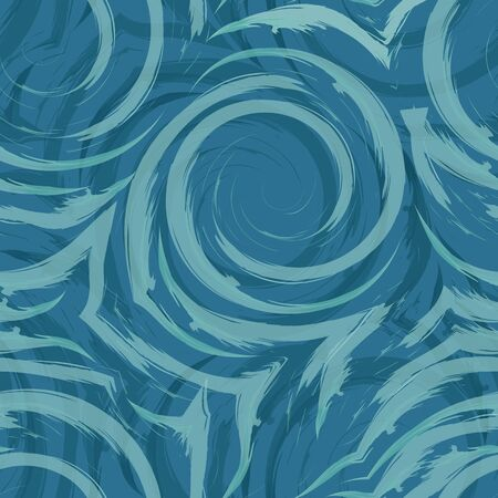 Vector seamless swirl pattern of spirals and curls. Abstract turquoise texture for fabrics or wrapping paper on a blue background. Watercolor texture of flowing lines and arcs. Smears