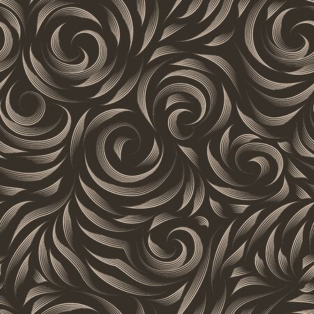 Vector seamless beige texture on a brown background. Smooth arch and curls in linear style. Gel pen. Print for fabrics or wrapping paper.Thin lines