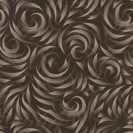 Vector seamless beige texture on a brown background. Smooth arch and curls in linear style. Gel pen. Print for fabrics or wrapping paper. Double exposure.Thin lines