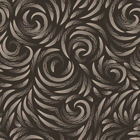 Vector seamless beige texture on a brown background. Smooth arch and curls in linear style. Gel pen. Print for fabrics or wrapping paper.Thin lines.  イラスト・ベクター素材