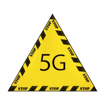 Vector yellow triangular sign with restrictive black stripes and the inscription 5g stop isolated on white background. Concept stop 5g