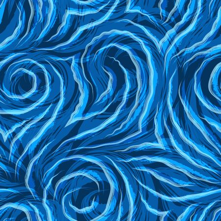 Vector seamless texture on a blue background with wavy watercolor lines. Pattern for fabrics or packaging. Waves or swirl in trendy colors Aqua Menthe and Phantom Blue. Electricity.
