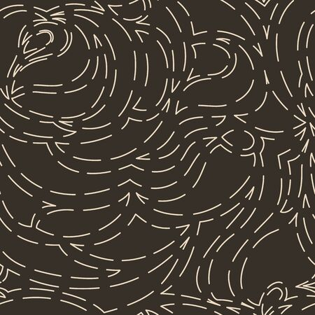 Seamless vector pattern of abstract shapes isolated on a brown dark background. Simple texture from strokes or seams of a thread of beige pastel color on a dark background. Decoration for fabrics or paper.