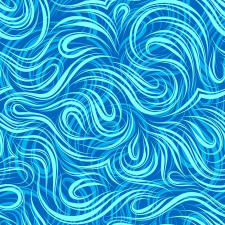 Seamless vector pattern of smooth turquoise flowing lines cut in the middle. Texture of wood fibers or waves. Decoration for paper fabrics or website background. Texture of three shades of blue. Print for curtains.