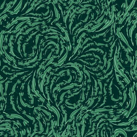 Seamless vector pattern of smooth green flowing lines with torn edges. Texture of wood or marble fibers. Decoration for paper fabrics or website background. Texture of five shades of green. Print for curtains 스톡 콘텐츠 - 145834059