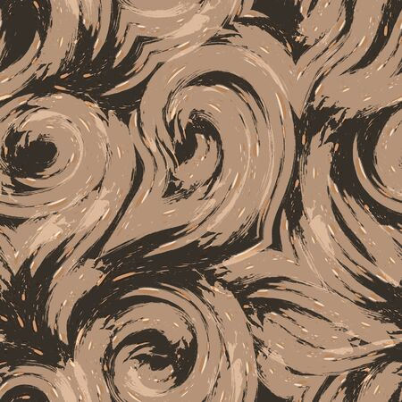 seamless texture on a brown background with beige blots and light stains of watercolor. A print for clothes or wrapping paper. Wood fiber in pastel shades.