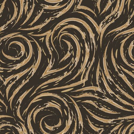 Seamless texture of waves and curls on a brown background with faded centers and splashes of paint. Watercolor pattern for decoration of fabrics or paper. Flowing lines or brush strokes in pastel colors.