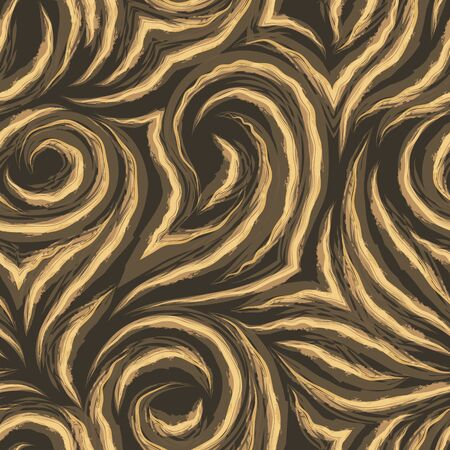 seamless texture on a brown background with wavy orange watercolor lines. Pattern for fabrics or packaging. Fiber and wood veins on a dark background.