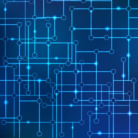 Fond de vecteur de lignes de cercles connectés avec l'effet de néon ou de lueur. Concept de communications électroniques et de transfert de données. Science de la technologie et informatique. Tableau de données. Vecteurs