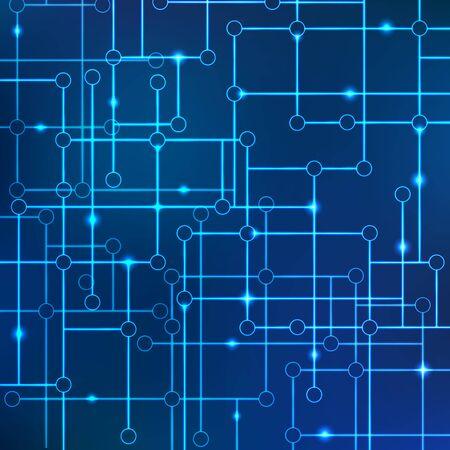 Vektorhintergrund von Linien verbundener Kreise mit der Wirkung von Neon oder Glühen. Konzept der elektronischen Kommunikation und Datenübertragung. Technikwissenschaft und Informatik. Daten-Array. Vektorgrafik