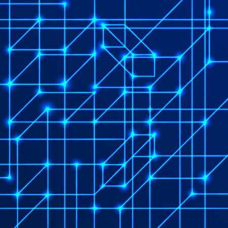 Vector background of bright neon lines with intersection nodes. Data transmission concept of networks and neural networks. Geometric pattern of squares of cubes and volumetric rectangles on a blue background.  イラスト・ベクター素材