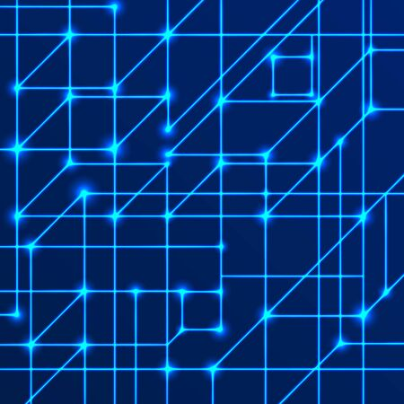 Vector background of bright neon lines with intersection nodes. Concept of data transmission networks and neural networks. Geometric pattern of squares of cubes on a blue background.  イラスト・ベクター素材
